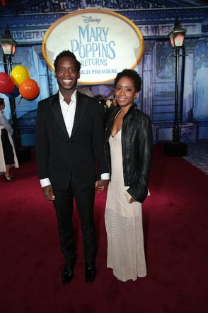 Kobna Holdbrook-Smith and Nydia Swaybe attend The World Premiere of Disney's Mary Poppins Returns at the Dolby Theatre in Hollywood, CA on Wednesday, November 29, 2018 (Photo: Alex J. Berliner/ABImages)