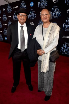 HOLLYWOOD, CA - NOVEMBER 29: Floyd Norman (L) and Adrienne Brown-Norman attend Disney's 'Mary Poppins Returns' World Premiere at the Dolby Theatre on November 29, 2018 in Hollywood, California. (Photo by Alberto E. Rodriguez/Getty Images for Disney) *** Local Caption *** Floyd Norman; Adrienne Brown-Norman