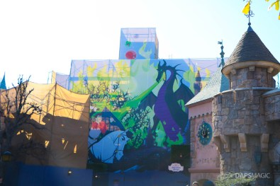New Scrims on Sleeping Beauty Castle Refurbishment Walk Around at the Disneyland Resort-3