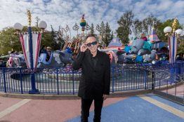 Director Tim Burton visits Dumbo the Flying Elephant at Disneyland Park in Anaheim, Calif., March 9, 2019, while celebrating the upcoming grand live-action adventure ÒDumbo,Ó in theaters March 29. For a limited time, a sneak peek of the film can be seen in the Main Street Opera House at Disneyland Park. (Joshua Sudock/Disneyland Resort)