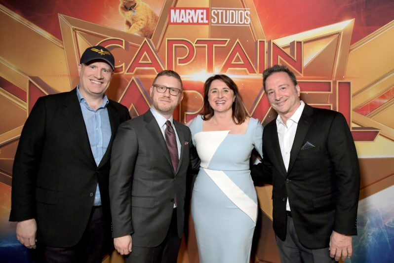 "HOLLYWOOD, CA - MARCH 04: (L-R) President of Marvel Studios/Producer Kevin Feige, and Executive Producers Jonathan Schwartz, Victoria Alonso and Louis D'Esposito attend the Los Angeles World Premiere of Marvel Studios' ""Captain Marvel"" at Dolby Theatre on March 4, 2019 in Hollywood, California. (Photo by Charley Gallay/Getty Images for Disney) *** Local Caption *** Victoria Alonso; Louis D'Esposito; Kevin Feige; Jonathan Schwartz"