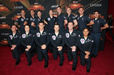 "HOLLYWOOD, CA - MARCH 04: U.S. Air Force Thunderbirds attend the Los Angeles World Premiere of Marvel Studios' ""Captain Marvel"" at Dolby Theatre on March 4, 2019 in Hollywood, California. (Photo by Jesse Grant/Getty Images for Disney)"