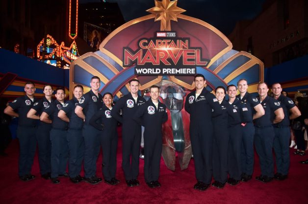 "HOLLYWOOD, CA - MARCH 04: U.S. Air Force Thunderbirds attend the Los Angeles World Premiere of Marvel Studios' ""Captain Marvel"" at Dolby Theatre on March 4, 2019 in Hollywood, California. (Photo by Alberto E. Rodriguez/Getty Images for Disney)"