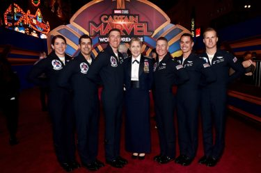 "HOLLYWOOD, CA - MARCH 04: Brigadier General Jeannie M. Leavitt (C) and U.S. Air Force Thunderbirds attend the Los Angeles World Premiere of Marvel Studios' ""Captain Marvel"" at Dolby Theatre on March 4, 2019 in Hollywood, California. (Photo by Alberto E. Rodriguez/Getty Images for Disney) *** Local Caption *** Jeannie Leavitt"