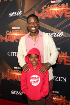 "HOLLYWOOD, CA - MARCH 04: Actor Sterling K. Brown and son attend the Los Angeles World Premiere of Marvel Studios' ""Captain Marvel"" at Dolby Theatre on March 4, 2019 in Hollywood, California. (Photo by Jesse Grant/Getty Images for Disney) *** Local Caption *** Sterling K. Brown"