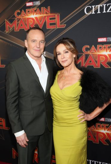"HOLLYWOOD, CA - MARCH 04: (L-R) Actors Clark Gregg and Jennifer Grey attend the Los Angeles World Premiere of Marvel Studios' ""Captain Marvel"" at Dolby Theatre on March 4, 2019 in Hollywood, California. (Photo by Jesse Grant/Getty Images for Disney) *** Local Caption *** Jennifer Grey; Clark Gregg"