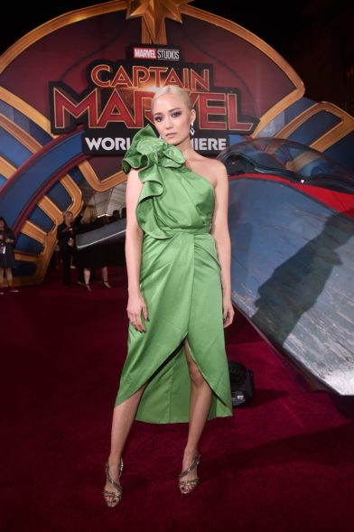 "HOLLYWOOD, CA - MARCH 04: Actor Pom Klementieff attends the Los Angeles World Premiere of Marvel Studios' ""Captain Marvel"" at Dolby Theatre on March 4, 2019 in Hollywood, California. (Photo by Alberto E. Rodriguez/Getty Images for Disney) *** Local Caption *** Pom Klementieff"
