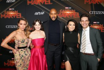 "HOLLYWOOD, CA - MARCH 04: (L-R) Actors Chloe Bennet, Elizabeth Henstridge, Henry Simmons, Ming-Na Wen, and Jeff Ward attend the Los Angeles World Premiere of Marvel Studios' ""Captain Marvel"" at Dolby Theatre on March 4, 2019 in Hollywood, California. (Photo by Jesse Grant/Getty Images for Disney) *** Local Caption *** Henry Simmons; Elizabeth Henstridge; Chloe Bennet; Ming-Na Wen"