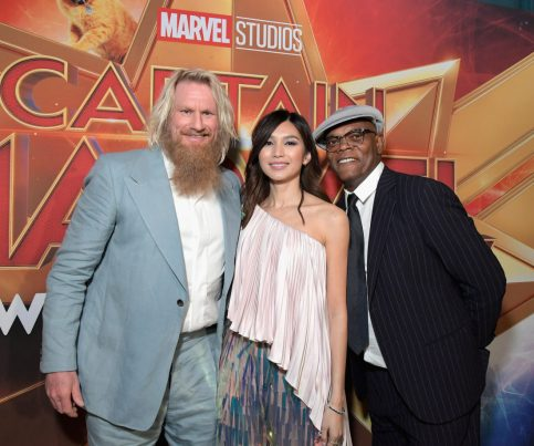 "HOLLYWOOD, CA - MARCH 04: (L-R) Actors Rune Temte, Gemma Chan, and Samuel L. Jackson attend the Los Angeles World Premiere of Marvel Studios' ""Captain Marvel"" at Dolby Theatre on March 4, 2019 in Hollywood, California. (Photo by Charley Gallay/Getty Images for Disney) *** Local Caption *** Samuel L. Jackson; Gemma Chan; Rune Temte"