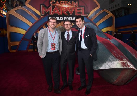 """HOLLYWOOD, CA - MARCH 04: Executive producer Jonathan Schwartz (C) and guests attend the Los Angeles World Premiere of Marvel Studios' """"Captain Marvel"""" at Dolby Theatre on March 4, 2019 in Hollywood, California. (Photo by Alberto E. Rodriguez/Getty Images for Disney) *** Local Caption *** Jonathan Schwartz"""