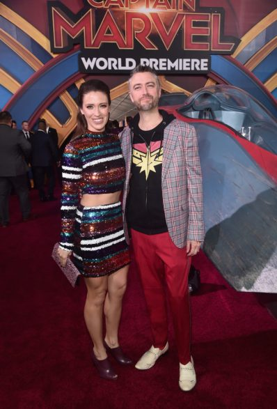 """HOLLYWOOD, CA - MARCH 04: (L-R) Natasha Halevi and actor Sean Gunn attend the Los Angeles World Premiere of Marvel Studios' """"Captain Marvel"""" at Dolby Theatre on March 4, 2019 in Hollywood, California. (Photo by Alberto E. Rodriguez/Getty Images for Disney) *** Local Caption *** Sean Gunn; Natasha Halevi"""