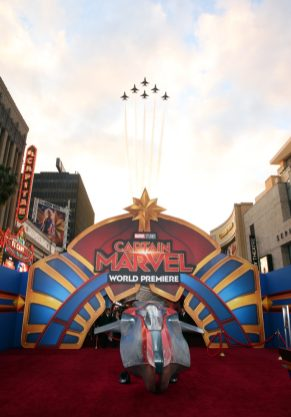 "HOLLYWOOD, CA - MARCH 04: Jets are seen during the Los Angeles World Premiere of Marvel Studios' ""Captain Marvel"" at Dolby Theatre on March 4, 2019 in Hollywood, California. (Photo by Jesse Grant/Getty Images for Disney)"