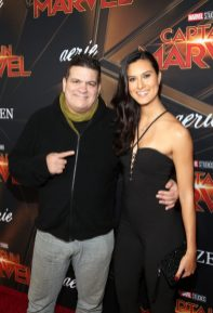 "HOLLYWOOD, CA - MARCH 04: (L-R) Rigan Machado and Cesalina Gracie attend the Los Angeles World Premiere of Marvel Studios' ""Captain Marvel"" at Dolby Theatre on March 4, 2019 in Hollywood, California. (Photo by Jesse Grant/Getty Images for Disney) *** Local Caption *** Cesalina Gracie; Rigan Machado"