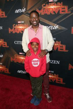 """HOLLYWOOD, CA - MARCH 04: Actor Sterling K. Brown and son attend the Los Angeles World Premiere of Marvel Studios' """"Captain Marvel"""" at Dolby Theatre on March 4, 2019 in Hollywood, California. (Photo by Jesse Grant/Getty Images for Disney) *** Local Caption *** Sterling K. Brown"""