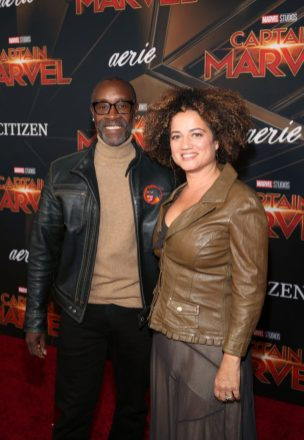 "HOLLYWOOD, CA - MARCH 04: (L-R) Don Cheadle and Bridgid Coulter attend the Los Angeles World Premiere of Marvel Studios' ""Captain Marvel"" at Dolby Theatre on March 4, 2019 in Hollywood, California. (Photo by Jesse Grant/Getty Images for Disney) *** Local Caption *** Bridgid Coulter; Don Cheadle"