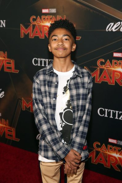 """HOLLYWOOD, CA - MARCH 04: Actor Miles Brown attends the Los Angeles World Premiere of Marvel Studios' """"Captain Marvel"""" at Dolby Theatre on March 4, 2019 in Hollywood, California. (Photo by Jesse Grant/Getty Images for Disney) *** Local Caption *** Miles Brown"""