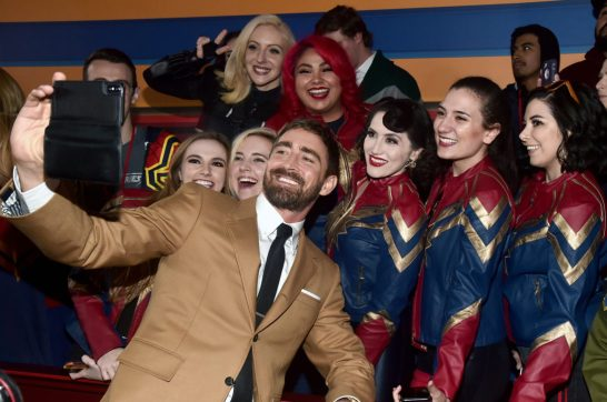 """HOLLYWOOD, CA - MARCH 04: Actor Lee Pace (C) attends the Los Angeles World Premiere of Marvel Studios' """"Captain Marvel"""" at Dolby Theatre on March 4, 2019 in Hollywood, California. (Photo by Alberto E. Rodriguez/Getty Images for Disney) *** Local Caption *** Lee Pace"""