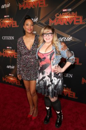 "HOLLYWOOD, CA - MARCH 04: (L-R) Actors Aisha Tyler and Kirsten Vangsness attend the Los Angeles World Premiere of Marvel Studios' ""Captain Marvel"" at Dolby Theatre on March 4, 2019 in Hollywood, California. (Photo by Jesse Grant/Getty Images for Disney) *** Local Caption *** Kirsten Vangsness; Aisha Tyler"