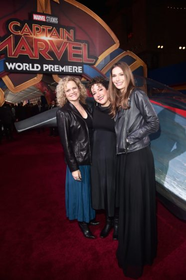 """HOLLYWOOD, CA - MARCH 04: (L-R) Writers Meg LeFauve, Nicole Perlman, and Geneva Robertson-Dworet attend the Los Angeles World Premiere of Marvel Studios' """"Captain Marvel"""" at Dolby Theatre on March 4, 2019 in Hollywood, California. (Photo by Alberto E. Rodriguez/Getty Images for Disney) *** Local Caption *** Geneva Robertson-Dworet; Nicole Perlman; Meg LeFauve"""