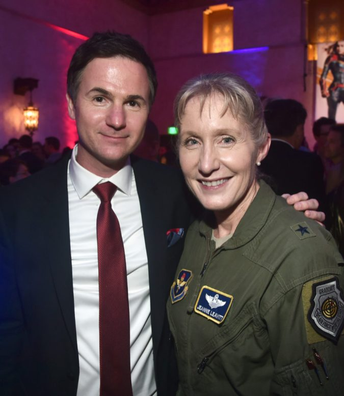 "HOLLYWOOD, CA - MARCH 04: (L-R) Director/writer Ryan Fleck and Brigadier General Jeannie M. Leavitt attend the Los Angeles World Premiere of Marvel Studios' ""Captain Marvel"" at Dolby Theatre on March 4, 2019 in Hollywood, California. (Photo by Alberto E. Rodriguez/Getty Images for Disney) *** Local Caption *** Jeannie Leavitt; Ryan Fleck"