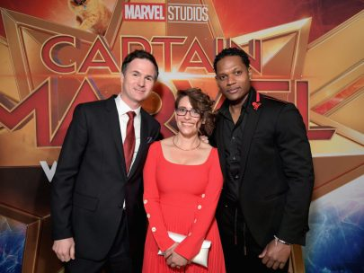 "HOLLYWOOD, CA - MARCH 04: (L-R) Directors/writers Ryan Fleck, Anna Boden and actor Algenis Perez Soto attend the Los Angeles World Premiere of Marvel Studios' ""Captain Marvel"" at Dolby Theatre on March 4, 2019 in Hollywood, California. (Photo by Charley Gallay/Getty Images for Disney) *** Local Caption *** Ryan Fleck; Anna Boden; Algenis Perez Soto"