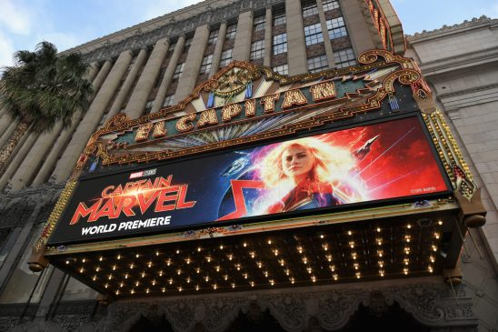"""HOLLYWOOD, CA - MARCH 04: A view of the atmosphere during the Los Angeles World Premiere of Marvel Studios' """"Captain Marvel"""" at Dolby Theatre on March 4, 2019 in Hollywood, California. (Photo by Charley Gallay/Getty Images for Disney)"""