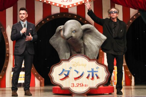 TOKYO, JAPAN - MARCH 14: (LR) Colin Farrell and Tim Burton attend the Japan premiere of Disney's 'Dumbo' on March 14, 2019 in Tokyo, Japan. (Photo by Ken Ishii/Getty Images for Disney)