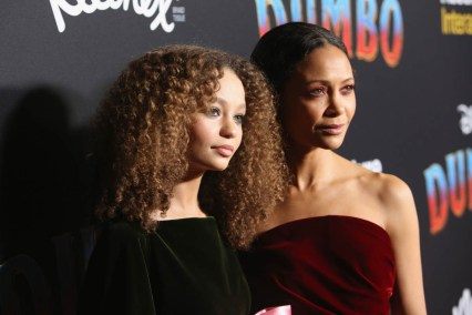 "LOS ANGELES, CA - MARCH 11: Actors Nico Parker (L) and Thandie Newton attend the World Premiere of Disney's ""Dumbo"" at the El Capitan Theatre on March 11, 2019 in Los Angeles, California. (Photo by Jesse Grant/Getty Images for Disney) *** Local Caption *** Thandie Newton; Nico Parker"