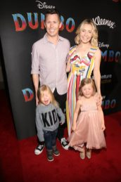 """LOS ANGELES, CA - MARCH 11: Beverley Mitchell (R) and geusts attend the World Premiere of Disney's """"Dumbo"""" at the El Capitan Theatre on March 11, 2019 in Los Angeles, California. (Photo by Jesse Grant/Getty Images for Disney)"""