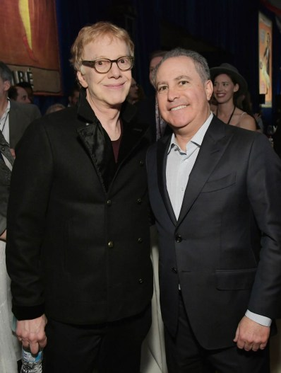 "LOS ANGELES, CA - MARCH 11: Composer Danny Elfman (L) and Walt Disney Studios President, Alan Bergman attend the World Premiere of Disney's ""Dumbo"" at the El Capitan Theatre on March 11, 2019 in Los Angeles, California. (Photo by Charley Gallay/Getty Images for Disney) *** Local Caption *** Danny Elfman; Alan Bergman"