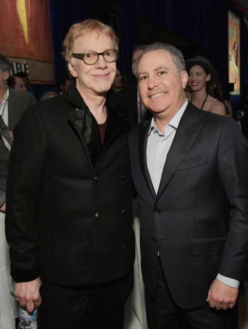 """LOS ANGELES, CA - MARCH 11: Composer Danny Elfman (L) and Walt Disney Studios President, Alan Bergman attend the World Premiere of Disney's """"Dumbo"""" at the El Capitan Theatre on March 11, 2019 in Los Angeles, California. (Photo by Charley Gallay/Getty Images for Disney) *** Local Caption *** Danny Elfman; Alan Bergman"""