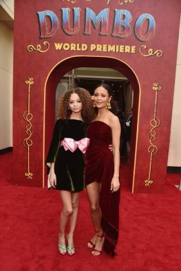 """LOS ANGELES, CA - MARCH 11: Actors Nico Parker (L) and Thandie Newton attend the World Premiere of Disney's """"Dumbo"""" at the El Capitan Theatre on March 11, 2019 in Los Angeles, California. (Photo by Alberto E. Rodriguez/Getty Images for Disney) *** Local Caption *** Nico Parker; Thandie Newton"""