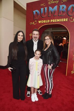 "LOS ANGELES, CA - MARCH 11: (L-R) Izabel Araujo, Joey Fatone, Kloey Alexandra Fatone and Briahna Joely Fatone attend the World Premiere of Disney's ""Dumbo"" at the El Capitan Theatre on March 11, 2019 in Los Angeles, California. (Photo by Alberto E. Rodriguez/Getty Images for Disney) *** Local Caption *** Kloey Alexandra Fatone; Izabel Araujo; Joey Fatone; Briahna Joely Fatone"