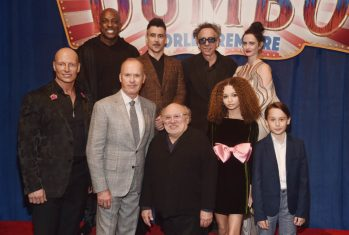 "LOS ANGELES, CA - MARCH 11: (Top L-R) Actors DeObia Oparei, Colin Farrell, Director/executive producer Tim Burton and actor Eva Green. (Bottom L-R) Actors Joseph Gatt, Michael Keaton, Danny DeVito, Nico Parker and Finley Hobbins attend the World Premiere of Disney's ""Dumbo"" at the El Capitan Theatre on March 11, 2019 in Los Angeles, California. (Photo by Alberto E. Rodriguez/Getty Images for Disney) *** Local Caption *** DeObia Oparei; Colin Farrell; Eva Green; Joseph Gatt; Michael Keaton; Danny DeVito; Nico Parker; Tim Burton; Finley Hobbins"