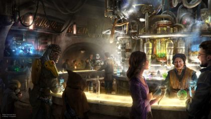 "Oga's Cantina at Star Wars: Galaxy's Edge is a local watering hole to unwind, conduct business and maybe even encounter a friend É or a foe. Patrons of the cantina come from across the galaxy to sample the famous concoctions created with exotic ingredients using ""otherworldly"" methods, served in unique vessels, with choices for kids and libations for adults. Oga's Cantina opens its doors at Star Wars: Galaxy's Edge May 31, 2019, at Disneyland Resort in California and Aug. 29, 2019, at Walt Disney World Resort in Florida. (Disney Parks)"