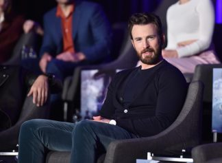 """LOS ANGELES, CA - APRIL 07: Chris Evans speaks onstage during Marvel Studios' """"Avengers: Endgame"""" Global Junket Press Conference at the InterContinental Los Angeles Downtown on April 7, 2019 in Los Angeles, California. (Photo by Alberto E. Rodriguez/Getty Images for Disney) *** Local Caption *** Chris Evans"""