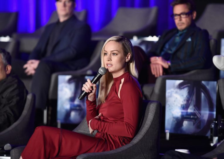 """LOS ANGELES, CA - APRIL 07: Brie Larson and Robert Downey Jr. speak onstage during Marvel Studios' """"Avengers: Endgame"""" Global Junket Press Conference at the InterContinental Los Angeles Downtown on April 7, 2019 in Los Angeles, California. (Photo by Alberto E. Rodriguez/Getty Images for Disney) *** Local Caption *** Brie Larson; Robert Downey Jr."""