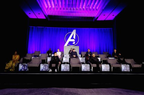"""LOS ANGELES, CA - APRIL 07: Danai Gurira, Don Cheadle, Director Anthony Russo, Scarlett Johansson, Mark Ruffalo, President of Marvel Studios/Producer Kevin Feige, Robert Downey Jr., Director Joe Russo and Chris Hemsworth speak onstage during Marvel Studios' """"Avengers: Endgame"""" Global Junket Press Conference at the InterContinental Los Angeles Downtown on April 7, 2019 in Los Angeles, California. (Photo by Alberto E. Rodriguez/Getty Images for Disney) *** Local Caption *** Danai Gurira; Don Cheadle; Joe Russo; Anthony Russo; Scarlett Johansson; Mark Ruffalo; Kevin Feige; Robert Downey Jr.; Chris Hemsworth"""