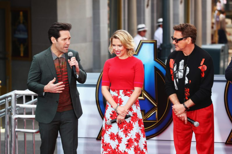 ANAHEIM, CA - APRIL 05: (L-R) Paul Rudd, Scarlett Johansson and Robert Downey Jr. attend Avengers Universe Unites, a charity event to celebrate the donation of more than $5 million in cash and toys to nonprofits supporting children with critical illnesses, at Disney California Adventure Park on April 5, 2019 in Anaheim, California. (Photo by Joe Scarnici/Getty Images for Disney) *** Local Caption *** Robert Downey Jr.; Scarlett Johansson; Paul Rudd