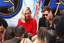 ANAHEIM, CA - APRIL 05: Brie Larson (L) and Chris Hemsworth attend Avengers Universe Unites, a charity event to celebrate the donation of more than $5 million in cash and toys to nonprofits supporting children with critical illnesses, at Disney California Adventure Park on April 5, 2019 in Anaheim, California. (Photo by Joe Scarnici/Getty Images for Disney) *** Local Caption *** Chris Hemsworth; Brie Larson