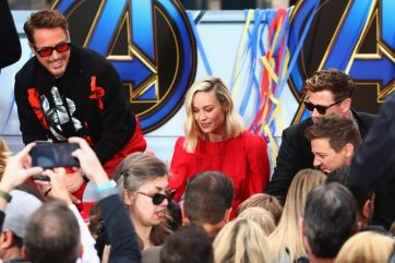 ANAHEIM, CA - APRIL 05: (L-R) Robert Downey Jr., Brie Larson, Chris Hemsworth and Jeremy Renner attend Avengers Universe Unites, a charity event to celebrate the donation of more than $5 million in cash and toys to nonprofits supporting children with critical illnesses, at Disney California Adventure Park on April 5, 2019 in Anaheim, California. (Photo by Joe Scarnici/Getty Images for Disney) *** Local Caption *** Jeremy Renner; Chris Hemsworth; Brie Larson; Robert Downey Jr.