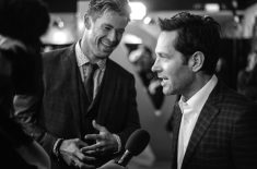 """LONDON, ENGLAND - APRIL 10: (EDITORS NOTE: Image has been converted to black and white) Chris Hemsworth & Paul Rudd attend the UK Fan Event to celebrate the release of Marvel Studios' """"Avengers: Endgame"""" at Picturehouse Central on April 10, 2019 in London, England. (Photo by Eamonn M. McCormack/Getty Images for Disney)"""