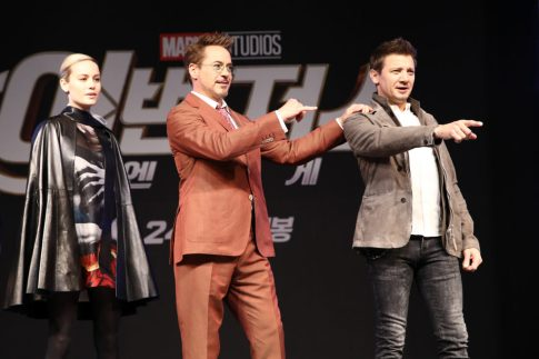 SEOUL, SOUTH KOREA - APRIL 15: Brie Larson, Robert Downey Jr., Jeremy Renner attend the press conference for Marvel Studios' 'Avengers: Endgame' South Korea premiere on April 15, 2019 in Seoul, South Korea. (Photo by Chung Sung-Jun/Getty Images for Disney)