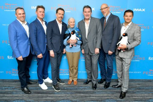 NEW YORK, NEW YORK - APRIL 14: <<(L-R) Paul Baribault, Jeff Wilson, Ed Helms, Dr. Jane Goodall, Alastair Fothergill, Roy Conli and Pablo Borboroglu attend Disneynature's 'PENGUINS' Premiere hosted by The Cinema Society at AMC Lincoln Square Theater on April 14, 2019 in New York. (Photo by Roy Rochlin/Getty Images for Disney Studios)