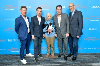 NEW YORK, NEW YORK - APRIL 14: <<(L-R) Jeff Wilson, Ed Helms, Dr. Jane Goodall, Alastair Fothergill and Roy Conli attend Disneynature's 'PENGUINS' Premiere hosted by The Cinema Society at AMC Lincoln Square Theater on April 14, 2019 in New York. (Photo by Roy Rochlin/Getty Images for Disney Studios)