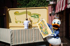 Donald Duck with New Mural on Main Street at Disneyland