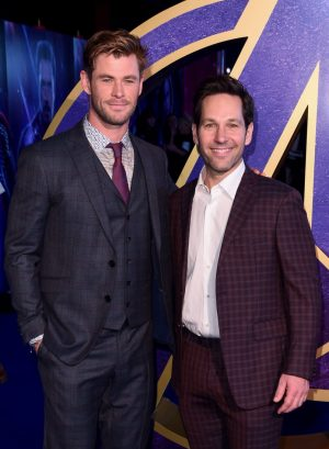 "LONDON, ENGLAND - APRIL 10: (L-R) Chris Hemsworth and Paul Rudd attend the UK Fan Event to celebrate the release of Marvel Studios' ""Avengers: Endgame"" at Picturehouse Central on April 10, 2019 in London, England. (Photo by Eamonn M. McCormack/Getty Images for Disney)"