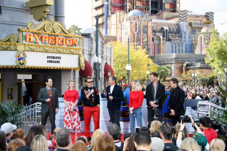 ANAHEIM, CA - APRIL 05: (L-R) Paul Rudd, Scarlett Johansson, Robert Downey Jr., The Walt Disney Company Chairman and CEO Bob Iger, Brie Larson, Chris Hemsworth and Jeremy Renner attend Avengers Universe Unites, a charity event to celebrate the donation of more than $5 million in cash and toys to nonprofits supporting children with critical illnesses, at Disney California Adventure Park on April 5, 2019 in Anaheim, California.