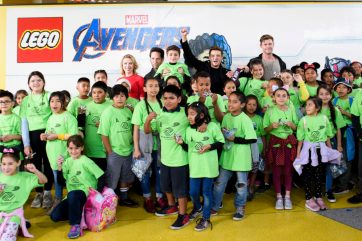 ANAHEIM, CA - APRIL 05: (L-R) Scarlett Johansson, Paul Rudd, Jeremy Renner and Chris Hemsworth and guests attend Avengers Universe Unites, a charity event to celebrate the donation of more than $5 million in cash and toys to nonprofits supporting children with critical illnesses, at Disney California Adventure Park on April 5, 2019 in Anaheim, California.