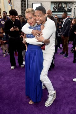"""LOS ANGELES, CA - MAY 21: Jada Pinkett Smith (L) and Caleeb Pinkett attend the World Premiere of Disney's """"Aladdin"""" at the El Capitan Theater in Hollywood CA on May 21, 2019, in the culmination of the film's Magic Carpet World Tour with stops in Paris, London, Berlin, Tokyo, Mexico City and Amman, Jordan. (Photo by Alberto E. Rodriguez/Getty Images for Disney) *** Local Caption *** Jada Pinkett Smith; Caleeb Pinkett"""